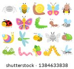 cute insects. big set of... | Shutterstock .eps vector #1384633838