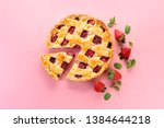 Tasty Strawberry Pie On Color...