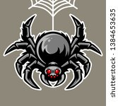 spider mascot hanging on the... | Shutterstock .eps vector #1384653635