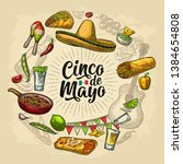 circle shape set with mexican... | Shutterstock .eps vector #1384654808