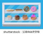bakery shop vitrine freezer... | Shutterstock .eps vector #1384669598