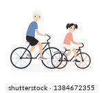 father and daughter riding... | Shutterstock . vector #1384672355