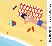 flat summer vacation at sea... | Shutterstock .eps vector #1384681412