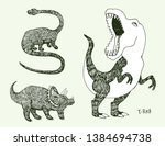 apatosaurus triceraptor angry... | Shutterstock .eps vector #1384694738