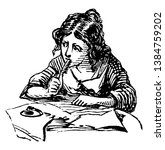 girl writing or pen rested... | Shutterstock .eps vector #1384759202