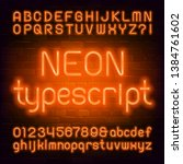 orange neon alphabet font.... | Shutterstock .eps vector #1384761602