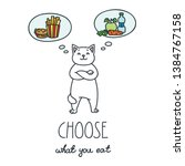 choose what you eat. funny cat... | Shutterstock .eps vector #1384767158
