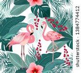 Seamless Pattern Of Flamingo ...