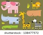 african animal.set of seven... | Shutterstock .eps vector #138477572