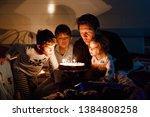 three children  toddler girl... | Shutterstock . vector #1384808258