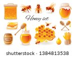 honey beekeep icon set with... | Shutterstock .eps vector #1384813538