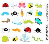 insect icon set. lady bug... | Shutterstock .eps vector #1384829132