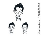 cartoon boy's facial emotion... | Shutterstock .eps vector #1384833038