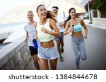 happy fit people running and... | Shutterstock . vector #1384844678