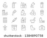 set of drugs related line icons.... | Shutterstock . vector #1384890758