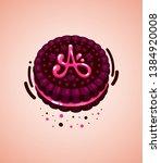 vector brown cookie and pink...   Shutterstock .eps vector #1384920008