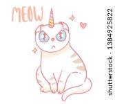 cute hand drawn vector kawaii... | Shutterstock .eps vector #1384925822