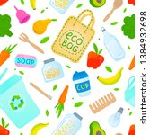 zero waste seamless pattern... | Shutterstock .eps vector #1384932698