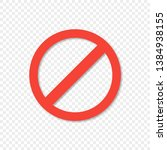 red ban icon on transparent...   Shutterstock .eps vector #1384938155