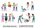 group school students bullying... | Shutterstock .eps vector #1384955558
