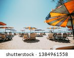 sunbeds on tropical beach with... | Shutterstock . vector #1384961558