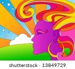 vector psychedelic pop art woman