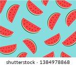 watermelon pattern  summer ... | Shutterstock .eps vector #1384978868