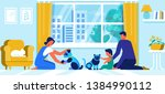 young family with little baby... | Shutterstock .eps vector #1384990112