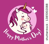 mother unicorn giving a hug to... | Shutterstock .eps vector #1385002088