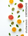 different fruits on white... | Shutterstock . vector #1385006048