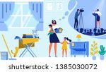housewife with little daughter...   Shutterstock .eps vector #1385030072