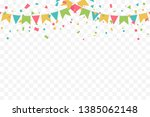 colorful party flags and... | Shutterstock .eps vector #1385062148