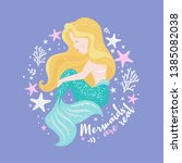 beautiful mermaid on lilac... | Shutterstock .eps vector #1385082038