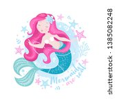 beautiful mermaid with pearls... | Shutterstock .eps vector #1385082248