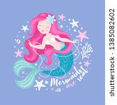 beautiful mermaid with pearls... | Shutterstock .eps vector #1385082602