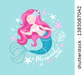 beautiful mermaid with pearls... | Shutterstock .eps vector #1385087042