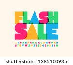 vector bright poster flash sale ... | Shutterstock .eps vector #1385100935