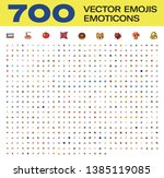 700 vector all emojis  emoticons | Shutterstock .eps vector #1385119085