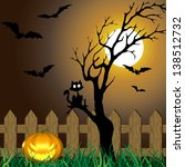 a halloween illustration with a ... | Shutterstock . vector #138512732