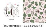 forest wildlife childish... | Shutterstock .eps vector #1385143145