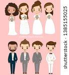 cute bride and groom cartoon... | Shutterstock .eps vector #1385155025