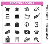 Vector set of shopping and money icons and design elements for web pages, e-commerce store, online shop and retail business services. Illustration on white background.