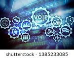 voip  voice over ip  on the... | Shutterstock . vector #1385233085