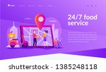 delivery man delivered pizza to ... | Shutterstock .eps vector #1385248118