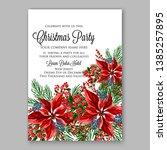 poinsettia christmas party... | Shutterstock .eps vector #1385257895