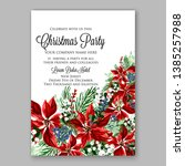 poinsettia christmas party... | Shutterstock .eps vector #1385257988