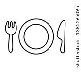 hand drawn plate fork and knife ... | Shutterstock .eps vector #1385265095