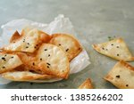 homemade wonton crisps   chips... | Shutterstock . vector #1385266202