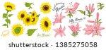 sunflower flower and lily... | Shutterstock .eps vector #1385275058
