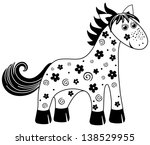 black and white toy horse... | Shutterstock . vector #138529955